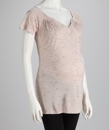 Dusty Rose Space-Dye Maternity V-Neck Top