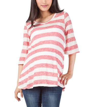 NOM Red Stripe Maternity Top