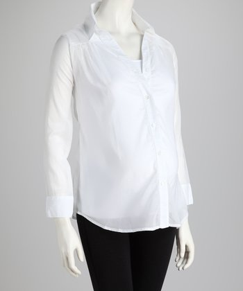 NOM White Sheer Maternity Button-Up