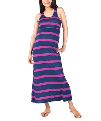 Purple Stripe Dylan Maternity Maxi Dress