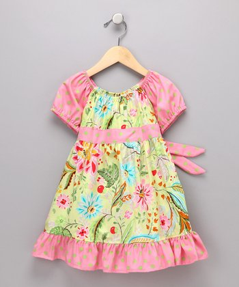 Green Floral Pattycake Dress - Toddler & Girls