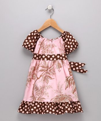 Pink & Brown Toile Pattycake Dress - Toddler & Girls