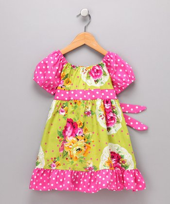 Green Garden Bouquet Pattycake Dress - Girls