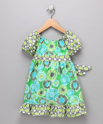 Aqua & Green Daisy Pattycake Dress - Toddler & Girls