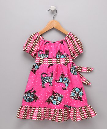 Pink Chocolate Cat Pattycake Dress - Toddler & Girls