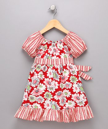 Red Daisy Pattycake Dress - Toddler & Girls
