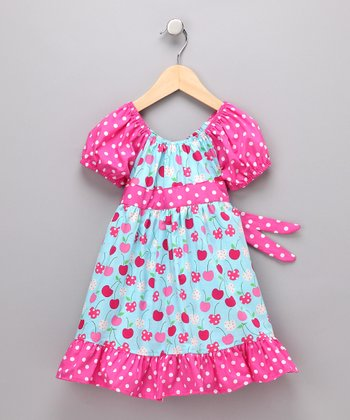 Blue Cherry Pattycake Dress - Girls