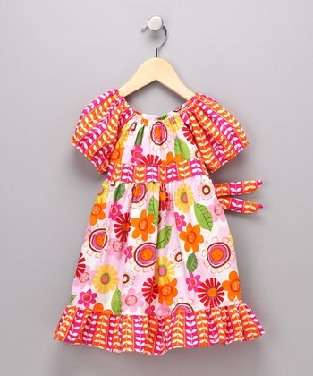 Orange & Hot Pink Flower Pattycake Dress - Toddler & Girls