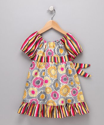 Gray Wild Daisy Pattycake Dress - Toddler