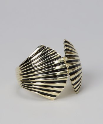 Black & Gold Enamel Seashell Cuff