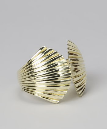 Gold Enamel Seashell Cuff
