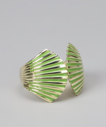 Green & Gold Enamel Seashell Cuff