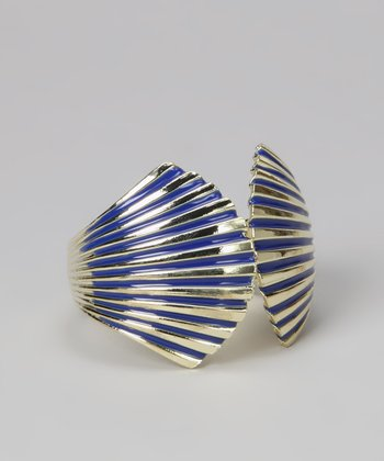 Navy & Gold Enamel Seashell Cuff