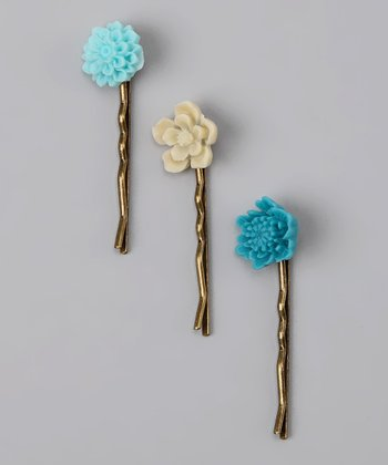 Blue & Cream Flower Hair Pin Set