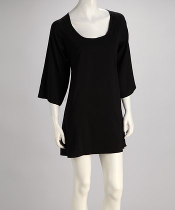 Black Cape-Sleeve Shift Dress