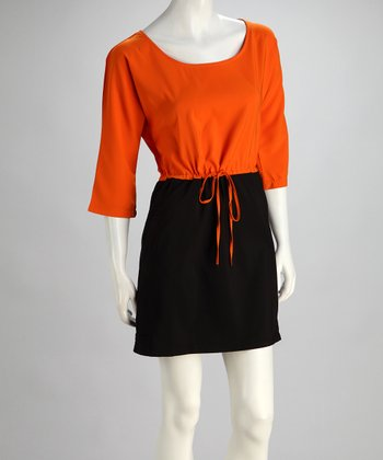 Orange & Gray Color Block Dress