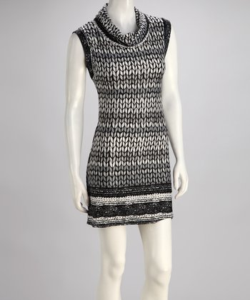 Black & Gray Sleeveless Sweater Dress