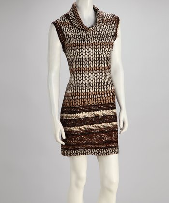 Silver & Brown Sleeveless Sweater Dress