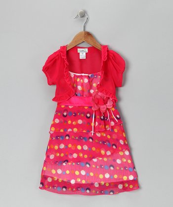 Fuchsia Polka Dot Tiered Dress & Shrug - Toddler & Girls