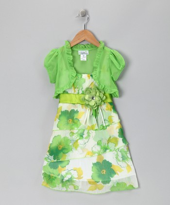 Lime Floral Chiffon Dress & Shrug - Toddler & Girls