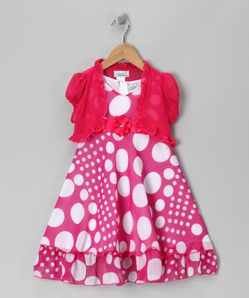 Fuchsia Polka Dot Dress & Shrug - Toddler & Girls