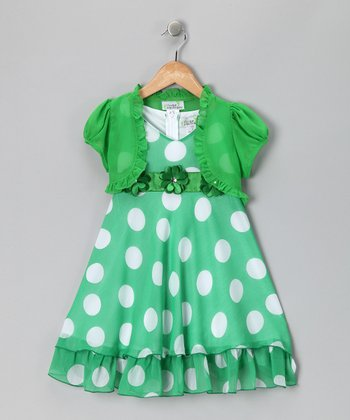 Green Polka Dot Dress & Shrug - Toddler & Girls