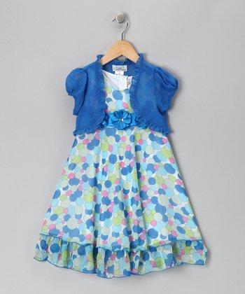 Royal Polka Dot Dress & Shrug - Toddler & Girls