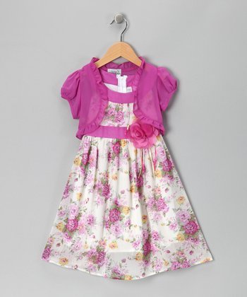 Purple Floral Bow Dress & Shrug - Toddler & Girls