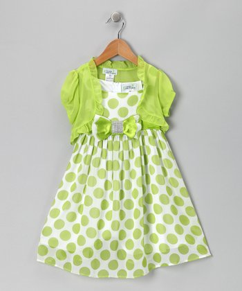 Lime Polka Dot Bow Dress & Shrug - Toddler & Girls
