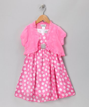 Pink Polka Dot Bow Dress & Shrug - Toddler & Girls