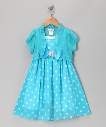 Turquoise Polka Dot Bow Dress & Shrug - Toddler & Girls