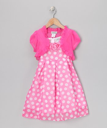 Pink Polka Dot Flower Dress & Shrug - Toddler & Girls