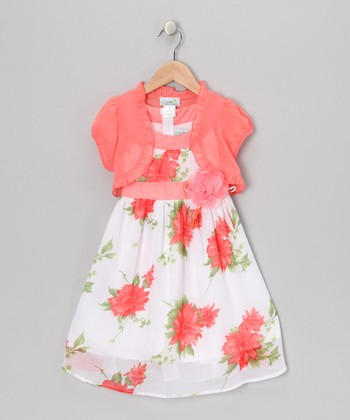 Coral Sash Dress & Shrug - Toddler & Girls