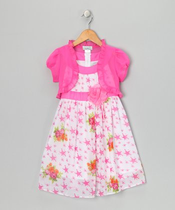 Pink Star Flower Dress & Shrug - Toddler & Girls