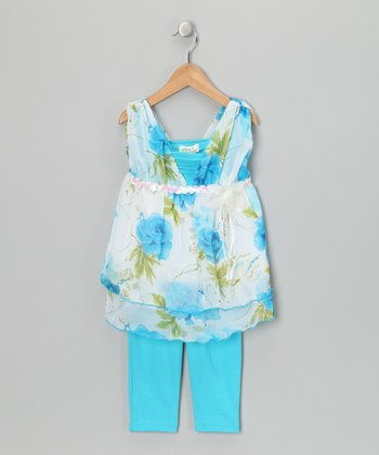Teal Floral Layered Tunic & Leggings - Girls