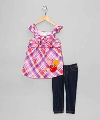 Fuchsia Plaid Ruffle Tunic & Jeggings - Toddler & Girls