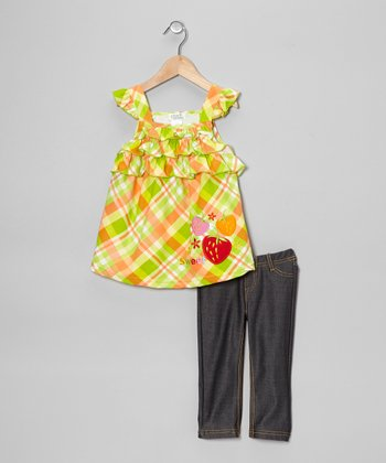 Lime Plaid Ruffle Tunic & Jeggings - Toddler & Girls