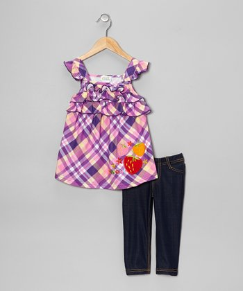Purple Plaid Ruffle Tunic & Jeggings - Toddler & Girls