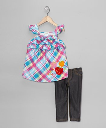 Turquoise Plaid Ruffle Tunic & Jeggings - Toddler & Girls