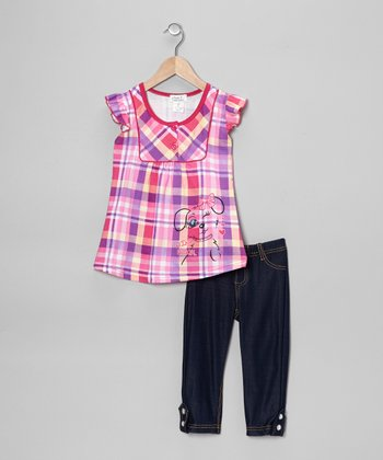 Fuchsia Plaid 'Wink' Tunic & Jeggings - Toddler & Girls