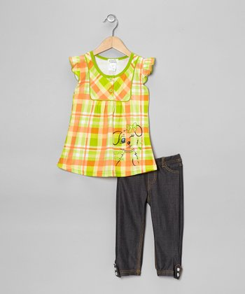 Lime Plaid 'Wink' Tunic & Jeggings - Toddler & Girls