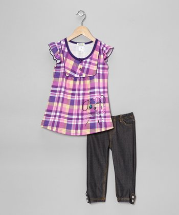 Purple Plaid 'Wink' Tunic & Jeggings - Toddler & Girls