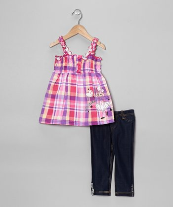 Fuchsia Plaid Hearts Tank & Jeggings - Toddler & Girls