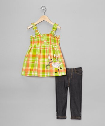 Lime Plaid Hearts Tank & Jeggings - Toddler & Girls