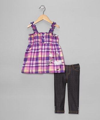 Purple Plaid Hearts Tank & Jeggings - Toddler & Girls