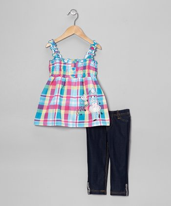 Turquoise Plaid Hearts Tank & Jeggings - Toddler & Girls
