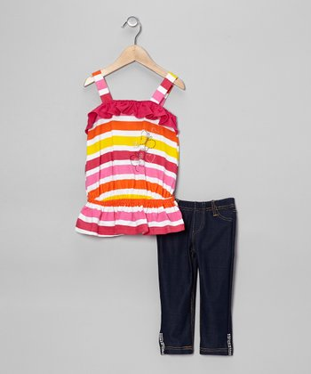 Raspberry Stripe Drop-Waist Tank & Jeggings - Toddler & Girls