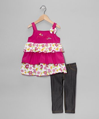 Fuchsia Tiered Ruffle Tank & Jeggings - Toddler & Girls