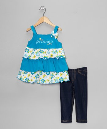 Turquoise Tiered Ruffle Tank & Jeggings - Toddler & Girls