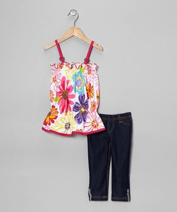 Fuchsia Floral Drop-Waist Tank & Jeggings - Toddler & Girls